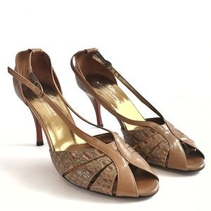 Donald J Pliner Gold Brown Stiletto Heels 8.5